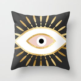 gold foil evil eye in blush Deko-Kissen