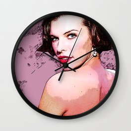 Milla Jovovich illustration Wall Clock