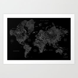 Black and grey world map with cities Art Print
