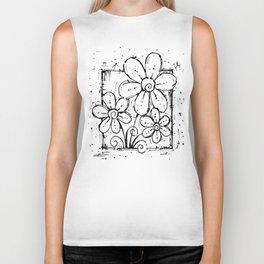 Scribble Doodle Flowers No.5A by Kathy Morton Stanion Biker Tank