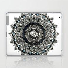 Black and White Flower Mandala with Blue Jewels Laptop & iPad Skin