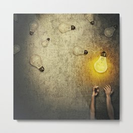 light bulbs juggling Metal Print