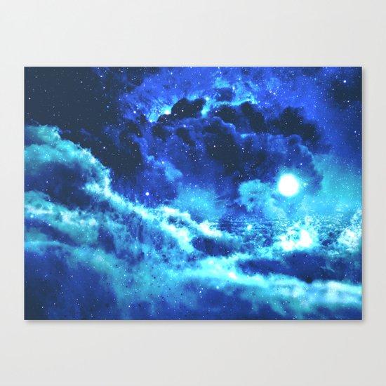 Blue on Moon Canvas Print