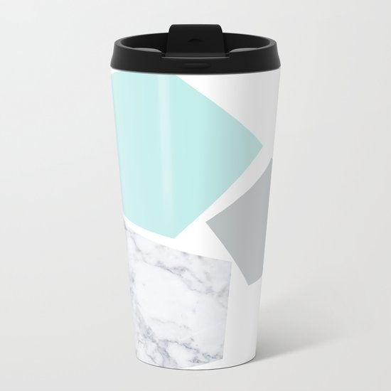 Geo marble and turquoise Metal Travel Mug