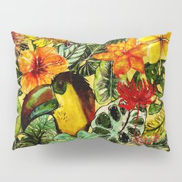 Tropical Vintage Exotic Jungle Flower Flowers - Floral watercolor pattern Pillow Sham