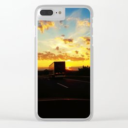 behind a truck Clear iPhone Case