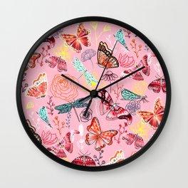 Dragonflies, Butterflies and Moths With Plants on Millennial Pink Wall Clock