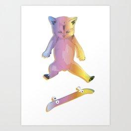 Skater Kitten Kickflip Art Print