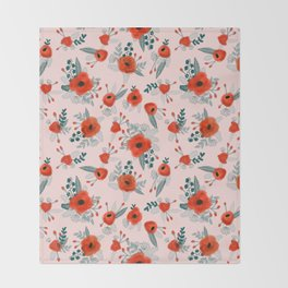 Poppy flower painted pattern floral florals prints poppies red Throw Blanket