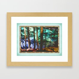 MOUNTAIN LAKE THROUGH HEMLOCK TREES Framed Art Print