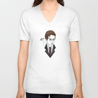 mulder V-neck T-shirts featuring spooky mulder by Bunny Miele