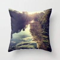 river Throw Pillows featuring River by Spencer Martin