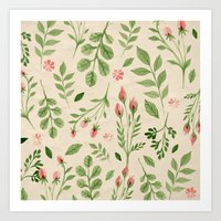 vintage flowers Art Prints featuring Vintage Flowers by Blue Daydreamer