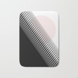 Rising Sun Minimal Japanese Abstract White Black Blush Pink Bath Mat