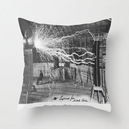 Nikola Tesla Sitting In His Experimental Station Reimagined Tesla Coil Lightning Science Throw Pillow