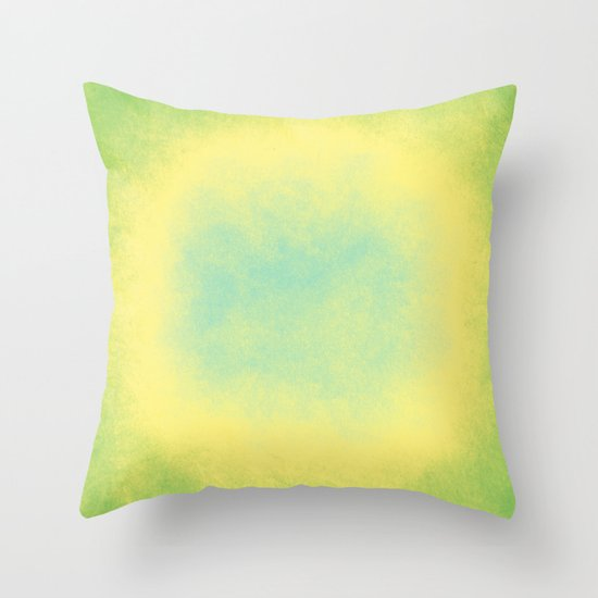 Abstract spring green, yellow and blue Throw Pillow by Wendy Townrow Society6