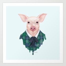 P is for a Pretty Pig in Plaid | Watercolor Piglet Art Print
