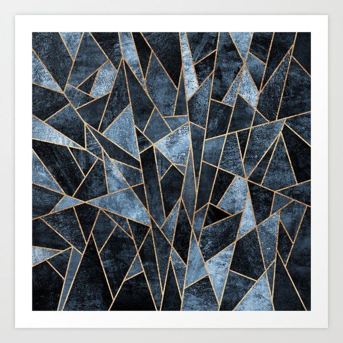 Shattered Soft Dark Blue Art Print
