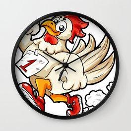 Running Rooster Cock Chicken Marathon Runner Gift Wall Clock