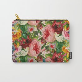 Colorful Floral Pattern   Je t'aime encore Carry-All Pouch