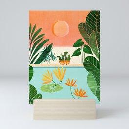 Shangri La Sunset / Exotic Landscape Illustration Mini Art Print