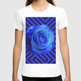CONTEMPORARY BLUE ROSE  PATTERN ART GARDEN T-shirt