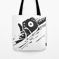 converse Tote Bags featuring CONVERSE by PixelRiff