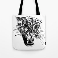 snow leopard Tote Bags featuring Snow Leopard by pbnevins