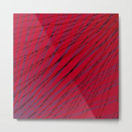 Rays of violet light with mirrored dark waves on red. Metal Print