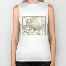 Vintage Map of The Roman Empire (1865) Biker Tank