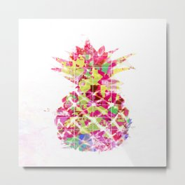 pineapple in pink yellow green blue with geometric triangle pattern abstract Metal Print