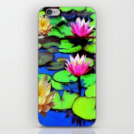 PINK & YELLOW WATER LILIES POND iPhone Skin