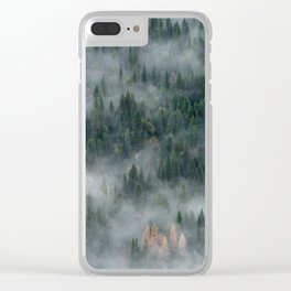 Foggy Yosemite Forest Clear iPhone Case