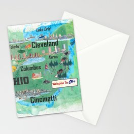 USA Ohio State Illustrated Travel Poster Map with Touristic Highlights Stationery Cards