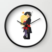 ouat Wall Clocks featuring OUAT - Hook and Emma by Choco-Minto