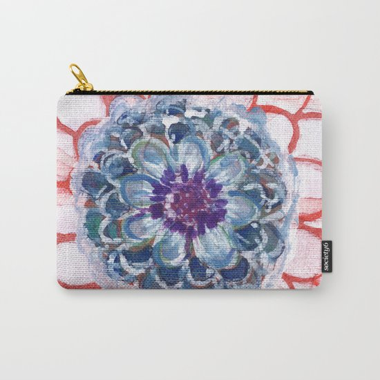 Centered Blue Blossom Carry-All Pouch
