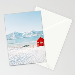 Red cabin on the beach with snow in the Lofoten Islands, Norway Stationery Cards