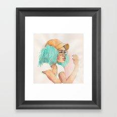 Minty Curls Don't Care Framed Art Print