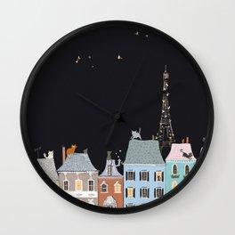 Cats in Paris Wall Clock