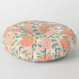 Floral Citrus in Pink Floor Pillow