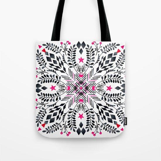 Winter Graphic Folk Art Pattern Tote Bag