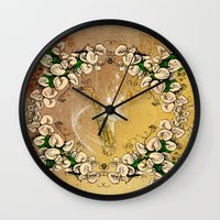saxophone Wall Clocks featuring Saxophone with flowers by nicky2342