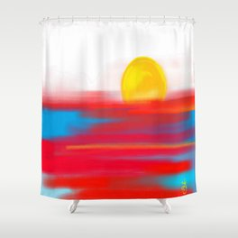 Sketchy Sun and Sea. Sunset and Sunrise Sketch Shower Curtain