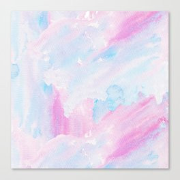 Modern pastel pink teal hand painted watercolor pattern Canvas Print