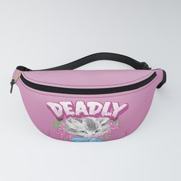 Cute but Deadly creepy goth kitten illustration Fanny Pack