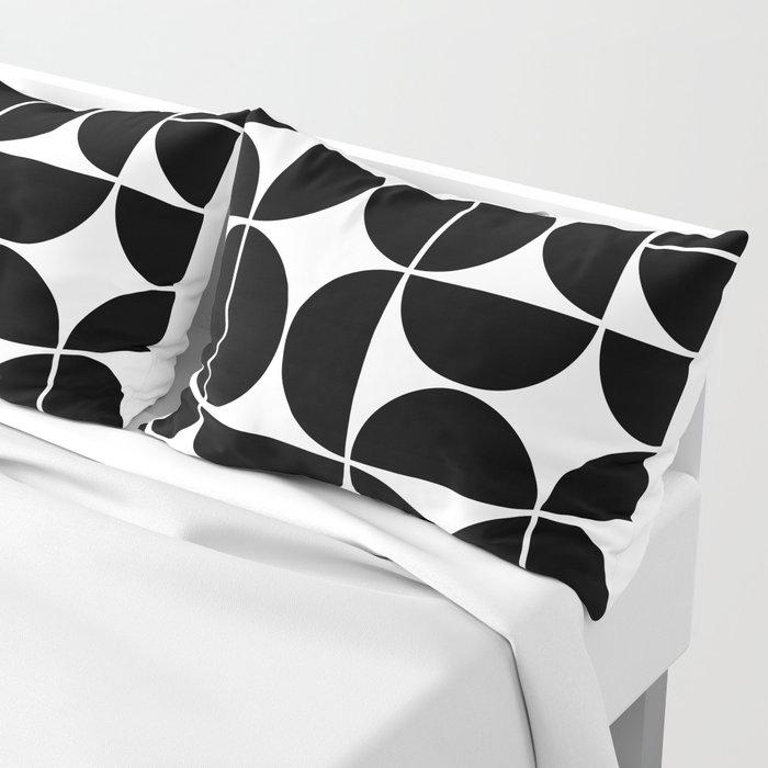 Mid Century Modern Geometric 04 Black Pillow Sham