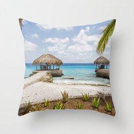 Caribbean Beach Huts Throw Pillow