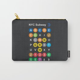New York City subway alphabet map, NYC, lettering illustration, dark version, usa typography Carry-All Pouch