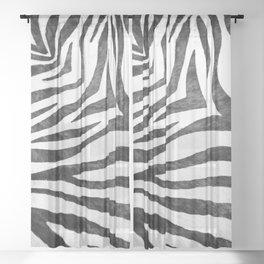 Realistic Zebra Print in Black and White Sheer Curtain