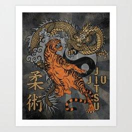 Jiu Jitsu Tiger and Dragon Art, Yin Yang, Martial Arts, Bjj Mma, Japanese Art Print